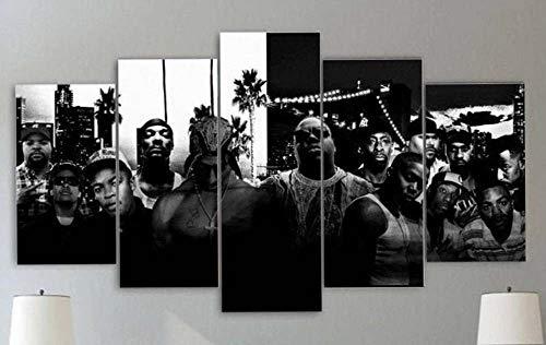 13Tdfc Bilder 150X80Cm Vlies Leinwandbild 5 TLG Kunstdruck Modern Wandbilder XXL Wanddekor Design Wand Bild -2Pac Tupac Amuru Shakur Hip Hop Rap Gangsta Todestrakt - Kunstdruck XXL 5 Teilig