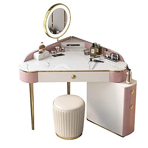 Set da toeletta con Specchio Illuminato, Specchio oscurabile Touch Screen, comò e Set di sgabelli Imbottiti per Ragazza, Camera da Letto per Donna