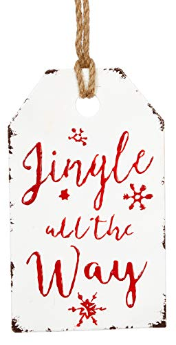 RAZ Imports Vintage Metal Enamel Gift Tag Holiday Ornament 12-in (Jingle All The Way)