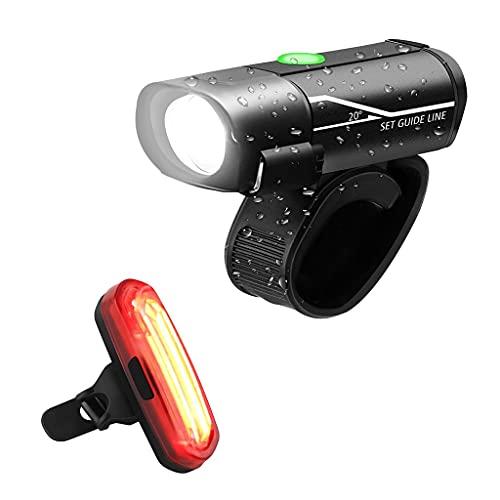 URUNI Luz de Bicicleta USB Recargable Impermeable Bicicleta de Bicicleta Conjunto de luz Delantera Ciclismo + luz Trasera Linterna de Bicicleta de Carretera de montaña