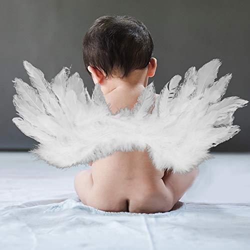 Ruiqas Baby Fotografie Props Veer Vleugel + Hoofdband pasgeboren baby schieten foto kostuum (wit)