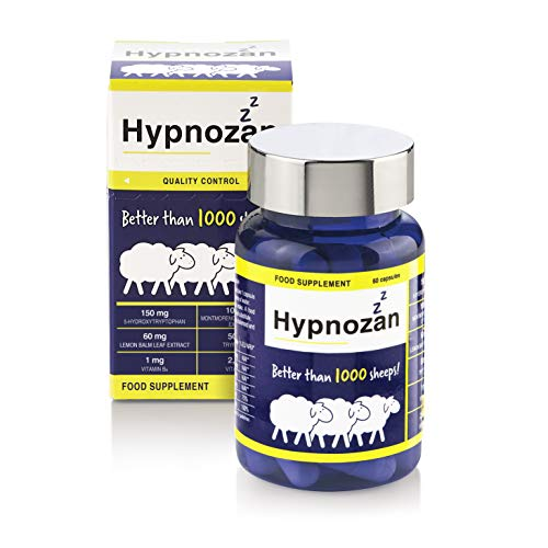 Hypnozan – for Good Sleep, Lemon Balm, L tryptophan, Montmorency. No ashwagandha. No melatonin. Better Than Sleeping Tablets, Capsules