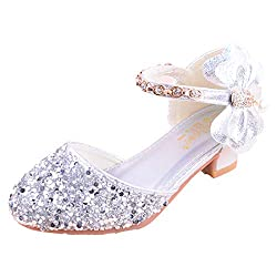 03-Silver Sparkle Mary Janes Low Heel Sandals