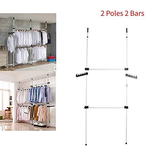 TENNESKY Sistema de Perchero Extensible Bastidor de Ropa Altura Ajustable Barra para Colgar Ropa en Dormitorio (2 Postes 2 Barras)