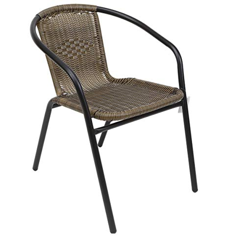 thesecrethome.es Silla Armada Metal Mimbre PVC Marron. Ideal para Jardin O TERRAZA. (55X57X72 cm)