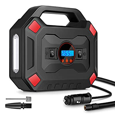 Portable Air Compressor for Car Tires, DC 12V Air Compressor Tire Inflator with Digital Pressure Gauge LED Light, Auto Shut Off Tire Pump Air Pump for Car, Bicycle, Motorcycle, Balls