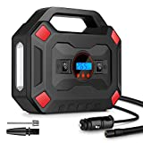 Craftersmark Tire Inflator Portable Air Compressor, Car Tire Pump with Digital Pressure Gauge and LED Light, 12V DC Air Pump for for Car Tires, Bicycle, Motorcycle, Balls