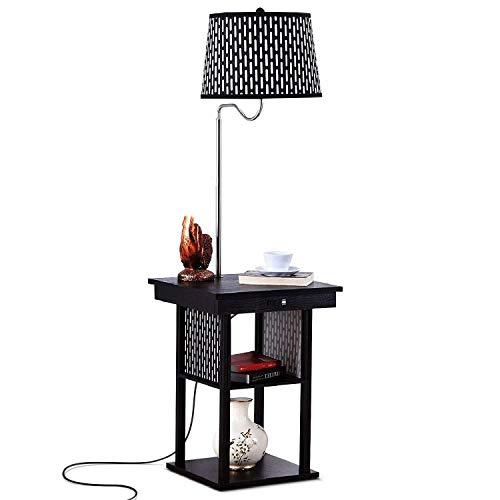 * Staande lamp, led-vloerlamp met USB-oplaadpoort, eenvoudige creatieve verlichting persoonlijkheid nacht/slaapkamer/met scheidingswand Amerikaanse vloerlamp (trekschakelaar) vloerlamp gebogen