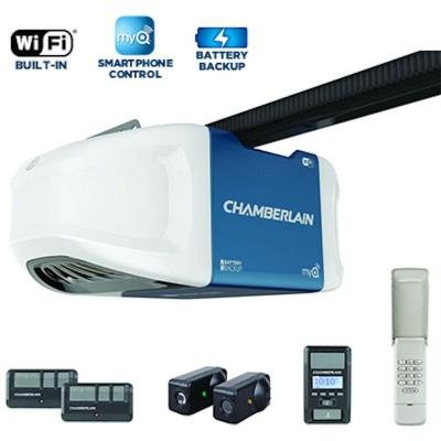 Chamberlain 1-1/4 HPS Smartphone-Controlled Wi-Fi Belt Drive Garage Door Opener with Battery Backup and Ultra-Quiet Operation