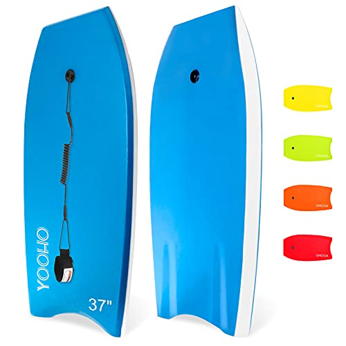 YOOHO Bodyboard 33 inch/37 inch/41 inch Lightweight Premium Body Board with Coiled Wrist Leash HDPE Slick Bottom for Beach Ocean Sea River Pool Perfect Surfing for Kids Teens and Adults-1 Pack
