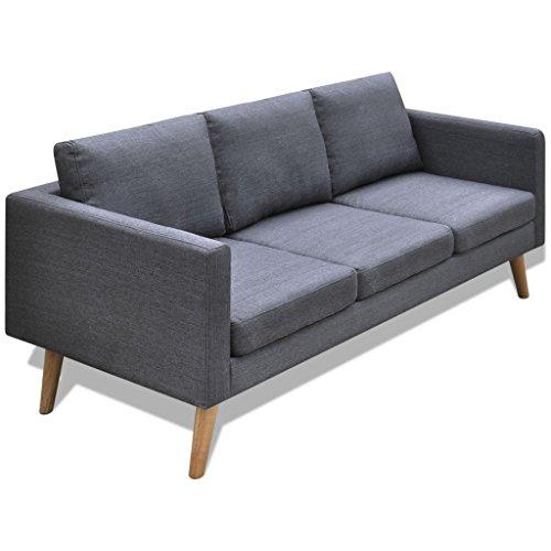 Festnight 3-Sitzer-Sofa Stoffsofa Couch 3-Sitzer Loungesofa mit Rüchenlehne Holzrahmen Sitzkomfort Dunkelgrau