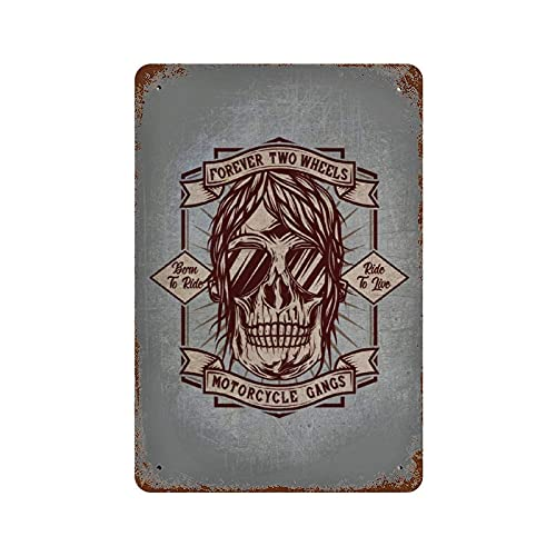 Lawenp Classic decoration Iron Painting Hanging Pictures Motorcycle Gangs Signs Wall Decoration Horizontal Plate for Home Garage Wall Decoration W8xH12 Inch (20x30cm)