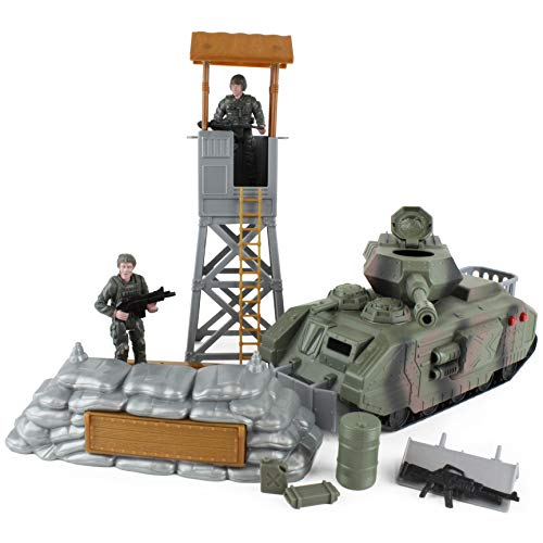 Boley WH33L5 Defender Army Tank Playset - Includes Toy Tank, Two Army Soldier Plastic Miniature Figurines, and Other Military Accessories and Gear - Pretend Play Action Set for Kids, Toddlers