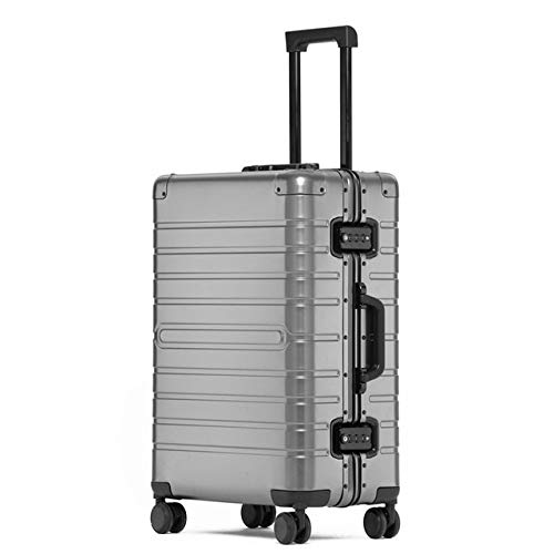 "Mdsfe Barato Maleta de Viaje de Aluminio 24""Spinner 20"" Business Maleta Trolley con Ruedas - Gris, 28"""