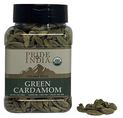 Pride Of India - Organische groene kardemom in zijn geheel - 3,53 oz (100 g) - Authentieke Indiase groene peulen - Het beste toegevoegd aan rijst, thee, koffie en zoete gerechten. Biedt de beste prijs-kwaliteitverhouding