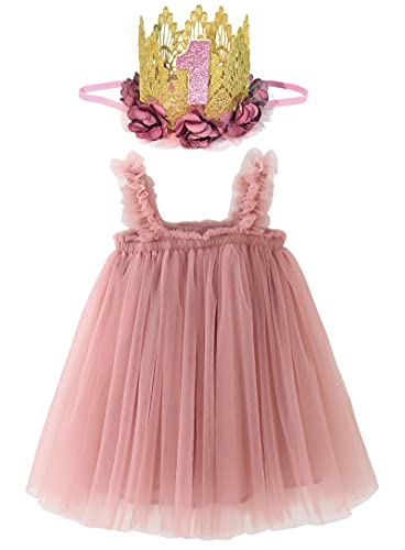 BGFKS Tutu Dress for Baby Girl 1st Birthday Photography Outfit Sets, Dress for Toddler Girls with Lace Rose Flower Crown.(Dusty Rose)