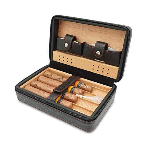 Zigarettenschachtel Zigarren-Humidor Travel tragbare Zigarettenetui Hält 4 Zigarren Zigarrenschneider Zedernholz Futter Premium Leder Cuban Massivholz-Box Männer Gift Box Schwarz ble for das Büro neue
