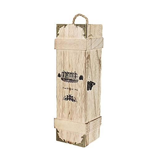 SGSDG Botella ÚNica Retro Caja de Vino De Madera Tablero De Tarjeta De Bloqueo De Metal PortáTil Caja de Vino con Tira De Papel A Prueba De Golpes para Celebrar Regalos Y Almacenar Vino Tinto