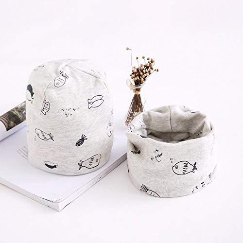 XCLWL Hoeden Voor Dames Babyhoed Babyhoeden Katoenen Sjaal Baby Beanies Print Lente Herfst Winter Kinderen Hoed Sjaal Set Baby Jongens Meisjes Hoeden Grijze Vissen 0-6 Maanden