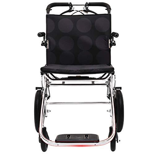 JKUNYU Silla de rehabilitación médica, silla de ruedas, silla de ruedas plegable de peso ligero de conducción médica, Silla de ruedas pequeño viaje de ancianos discapacitados inflable carretilla Ultra