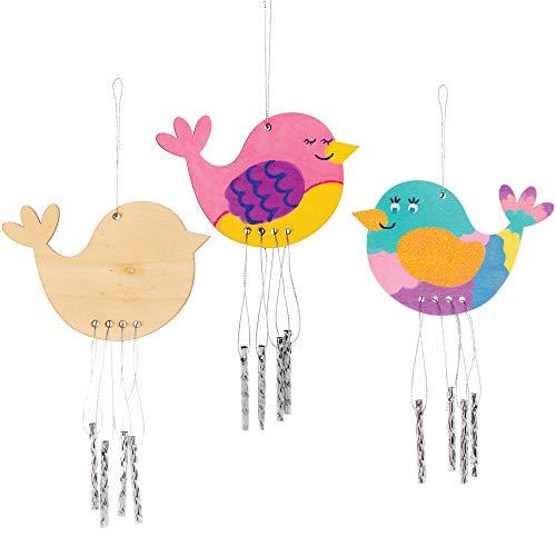 """Baker Ross Holz-Windspiele """"Vogel"""" für Kinder Packung mit 4"""