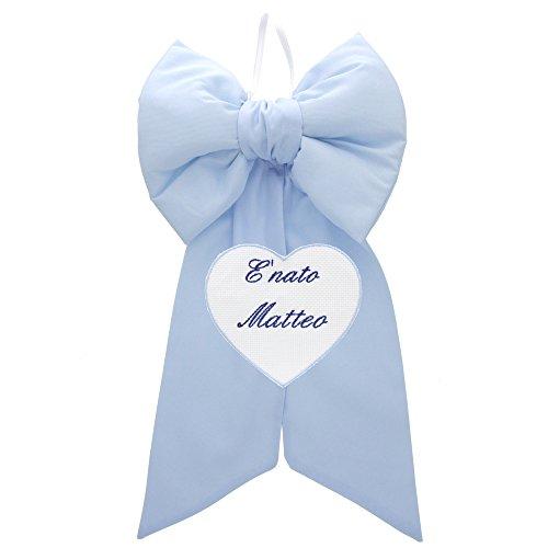 Coccole- Fiocco nascita con cuore personalizzato - coccarda nascita con nome personalizzato (Azzurro)