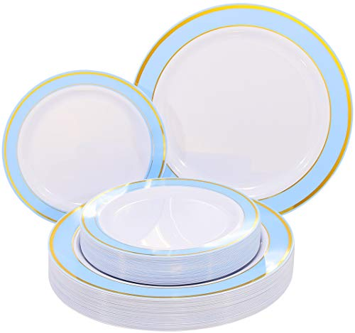 NERVURE 102 PCS Blue with Gold Rim Disposable Plates-Wedding and Party Plastic Plate Include 51PCS 10.25inch Dinner Plates and 51PCS 7.5inch Dessert/Salad Plates -Christmas&Wedinng Party Supplies