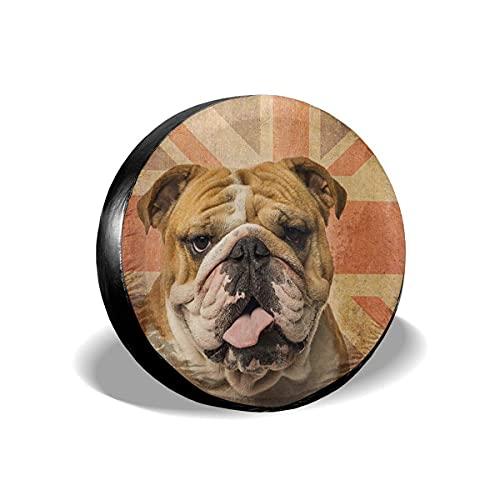 Lewiuzr Cubierta de neumático de Repuesto de Bulldog inglés Vintage, Protector Solar de poliéster, Cubiertas de Rueda Impermeables, Ajuste Universal