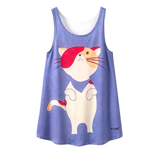RODMA Nieformalna koszulka z dekoltem w serek z nadrukiem kota damska bezrękawnik średni