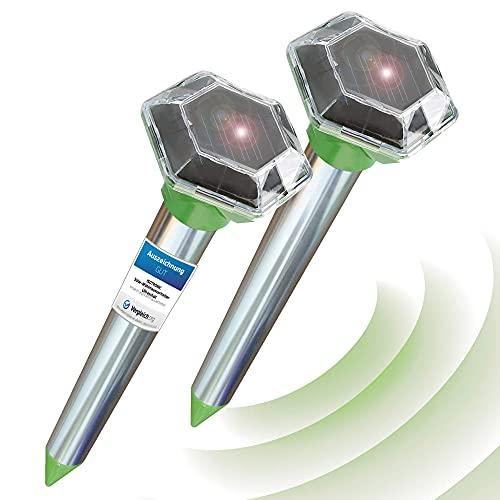 ISOTRONIC® Solar Ahuyentador de topos, Efectivas vibraciones por ultrasonido contra ratón, rata, hormiga, topillo, serpiente - Repelente de alta frecuencia para exteriores - Paquete de 2 piezas