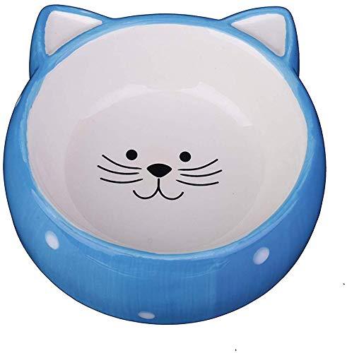 DLCWW Katzenschalen aus Keramik für Futter und Wasser, Futternapf mit süßer Katzengesichtsform, geeignet für Welpen, Katzen und Kaninchen, mikrowellen- und spülmaschinenfest,Blue