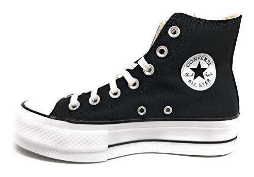 Converse Chuck Taylor CTAS Lift Hi, Zapatillas para Mujer, Negro (Black/White/White 001), 37 EU