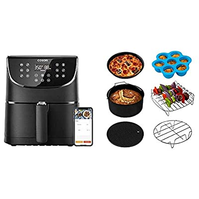 COSORI Smart WiFi Air Fryer 5.8QT(100 Recipes), 1700-Watt Programmable Base for Air Frying & Air Fryer Accessories XL (C158-6AC), Set of 6 Fit all 5.8Qt, 6Qt Air Fryer, FDA Compliant, BPA Free