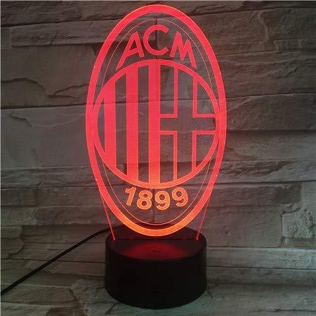 Klsoo Luce Notturna Milan Football Team Club Usb 3D Led Night Light Ragazzi Bambini Bambini Fans Regali Di Compleanno Soccer Desk Lamp Bedroom