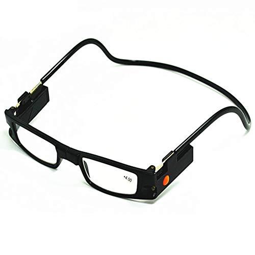 Z&HA LED lamp hangende nek leesbril, magneet vouwen verstelbare vooraansluiting leesbril voor mannen en vrouwen lezen boeken Zie computer bril +100 naar +400