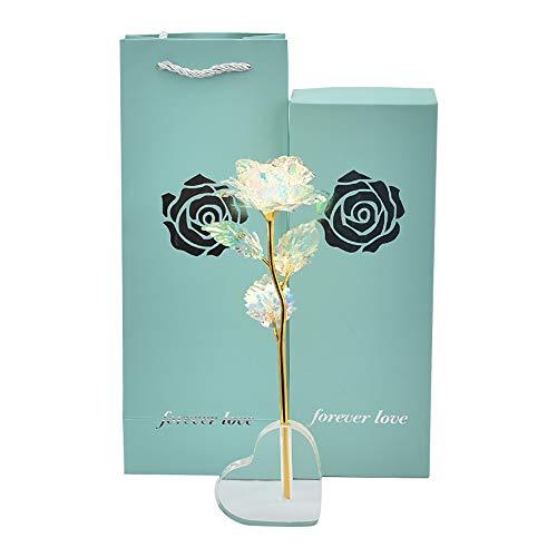 SUNJULY 24 K Oro Color de Rosa de Papel, Artificial Forever Rose con Soporte de Exhibición en Caja de Regalo, Artesanía Hecha a Mano Regalo de San Valentín para Novias Día de la Madre, Aniversario