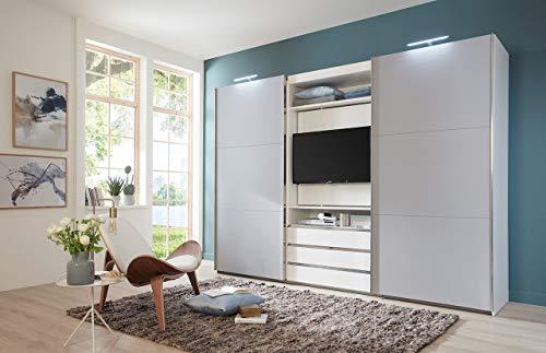 lifestyle4living Kleiderschrank in Weiß - Außentüren in Grau, Schwebetüren-Schrank mit 3 Schubkästen und drehbarem TV-Element, 300 cm