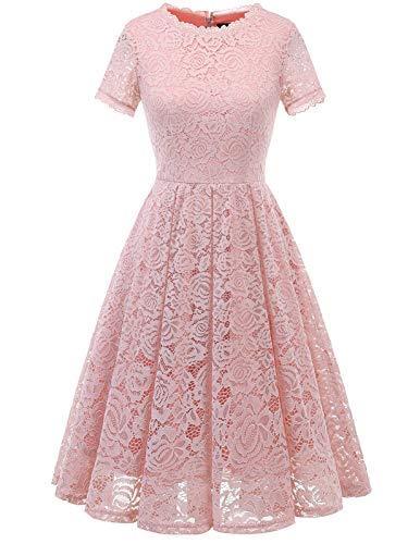 DRESSTELLS Damen Midi Elegant Hochzeit Spitzenkleid Kurzarm Rockabilly Kleid Cocktail Abendkleider Blush S
