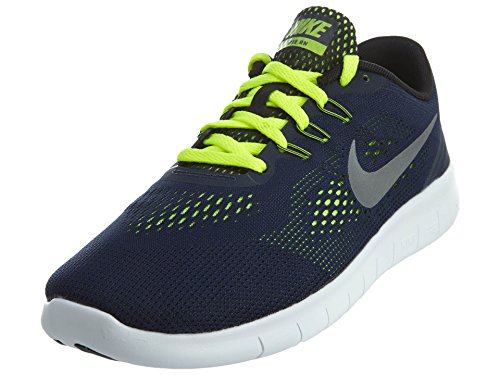 Nike 833989-403: Free RN YOUTH(GS) Running Shoes NAVY (Obsidian/Metallic Silver-volt, 6 Y US)