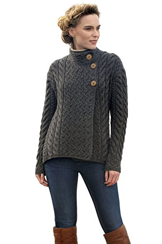 100% Premium Irish Merino Wool - This versatile cardigan sweater is made of pure, top-quality Irish wool. This kind of wool provides insulating warmth, moisture-wicking breathability, and premium softness Raised Collar - A thick, raised collar embell...