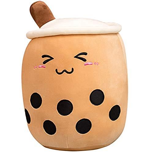 gjbpls té lindos juguetes de peluche, 35 cm, té de burbuja, juguetes de peluche, relleno, leche, té, muñeca suave, taza de té, almohada, juguetes para niños, regalos de cumpleaños
