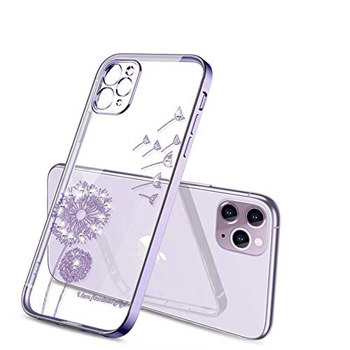 ROSEHUI Handyhülle Kompatibel für iPhone 11 Hülle Blumen Silikonhülle Löwenzahn 3D Diamant Glitzern Dünn Weich durchsichtig Schutzhülle,Lila