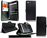 PIXFAB For BlackBerry Key 2 Case, Black Leather Book Wallet