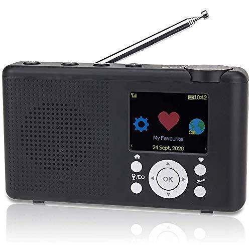 WFGZQ Radio Dab/FM, Mini Radio con Reproductor MP3, Radio grabable con Tarjeta SD, batería Recargable, Radio de Mano portátil, Caminar o Trotar