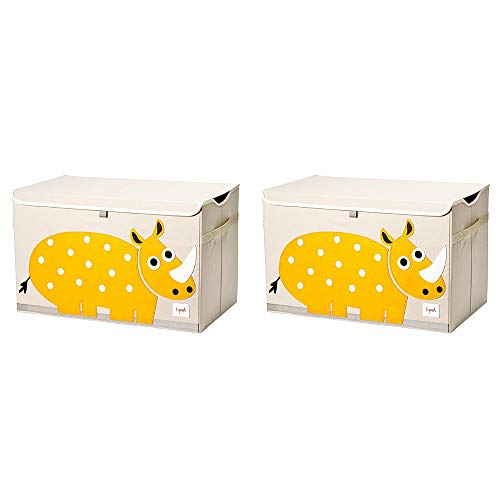 3 Sprouts Collapsible Toy Chest Storage Bin for Kids Playroom, Rhino (2 Pack)
