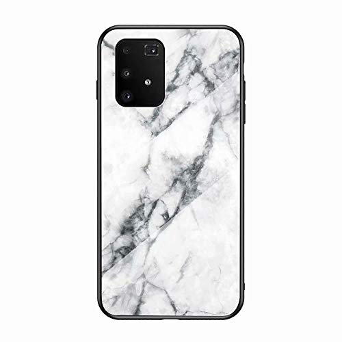 Miagon Galaxy S10 Lite Glas Handyhülle,Marmor Serie 9H Panzerglas Rückseite mit Weicher Silikon Rahmen Kratzresistent Bumper Hülle für Samsung Galaxy S10 Lite,Weiß