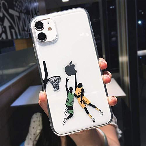 SSICA Divertida Caricatura de Baloncesto Slam Dunk Clear Phone Case para iPhone 12 Pro MAX Mini 11 XS X XR 7 8 Plus Boy Funda Transparente Suave para iPhone XR Dos Personas