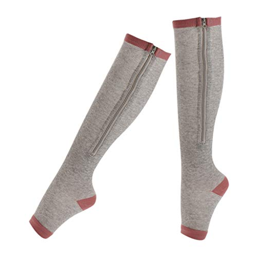 Harilla Mujeres Hombres Calcetines de Compresión Medias con Cremallera de Longitud Completa Calcetín para Aliviar El Dolor - Gris, XXL