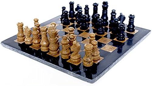 RADICALn komplett handgefertigt original marmor schachbrett spiel set zWeißspieler voll schach spieltisch gesetzt (schwarznGold) - RADICALn Completely Handmade Original Marble Chess Board Game Set Two Players Full Chess Game Table Set (schwarzNGold)
