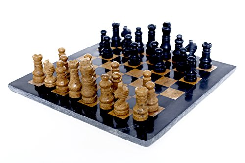 RADICALn Completely Handmade Original Marble Chess Board Game set Two Players Full Chess Game Table Set (BLACKNGOLD)